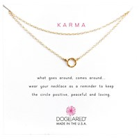 Dogeared Tiny Karma Double Chain Necklace Gold
