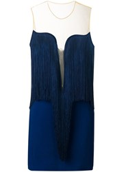 Stella Mccartney Giselle Fringed Dress Blue