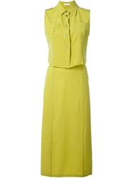 Prada Vintage Skirt And Blouse Suit Green