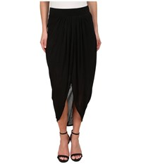 Michael Stars Micro Modal Draped Front Midi Skirt Black Women's Skirt