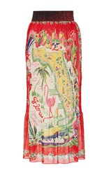 Anna Sui Florida Pleated Skirt Red Yellow Green