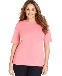 Charter Club Plus Size Boat Neck T Shirt Only At Macy's Strawberry Ice