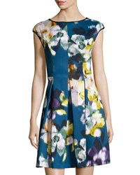 Maggy London Fitted Floral Scuba Dress Teal Green