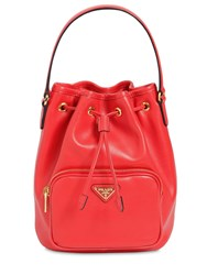 Prada Saffiano And City Leather Bucket Bag Red