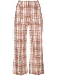 Veronica Beard Plaid Print Cropped Trousers 60