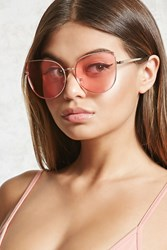 Forever 21 Tinted Cat Eye Sunglasses Gold Pink