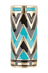 House Of Harlow 14K Gold Plated Chevron Ring Size 8 Blue