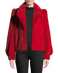 Co Mink Fur Crop Jacket Red