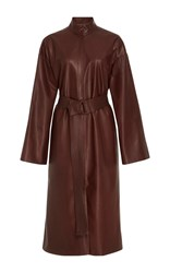 By. Bonnie Young Belted Leather Dress Brown