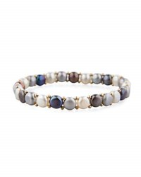 Belpearl 14K Multicolor Freshwater Button Pearl Stretch Bracelet Gray Mix