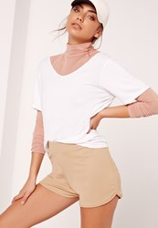 Missguided Petite Exclusive Ribbed Runner Shorts Camel