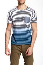 Barque Dip Dye Striped Crew Neck Tee Blue