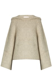See By Chloe Hooded Bell Sleeved Ribbed Knit Sweater Light Grey