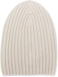 Barrie Cashmere Ribbed Beanie White