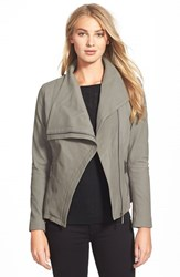 Petite Women's T Tahari 'Trisha' Drape Front Leather Jacket Mink