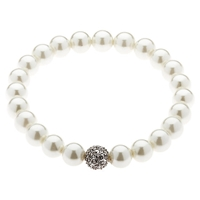Finesse Faux Pearl Silver Pave Ball Bracelet