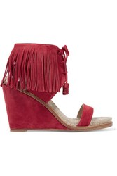 Paul Andrew Shantou Fringe Trimmed Suede Wedge Sandals Red