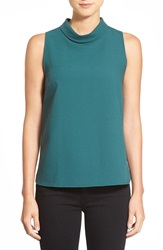 Bobeau Sleeveless Mock Cowl Neck Top Hunter Green
