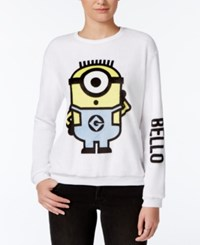 Hybrid Juniors' Despicable Me Bello Graphic Fuzzy Sweatshirt Pearl