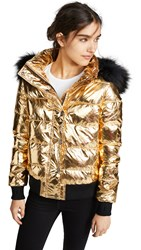 Jocelyn Quilted Down Jacket With Fur Trim Gold