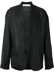 Isabel Benenato Knitted Panel Blazer Black