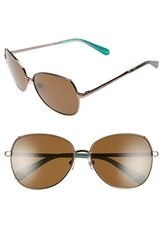 Women's Kate Spade New York 'Candida' 57Mm Polarized Aviator Sunglasses Almond