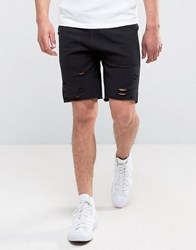 New Look Jersey Shorts With Rips In Black Black