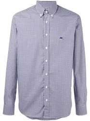 Etro Gingham Button Down Shirt Blue