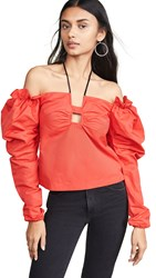 Hellessy Halter Top With Gathered Sleeves Poppy