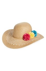Capelli Of New York Women's Pom Floppy Straw Hat