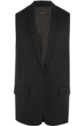 Rag And Bone Francois Wool Blend Pique Vest Blue