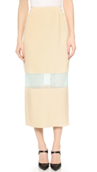 Wes Gordon Banded Lace Skirt Cream