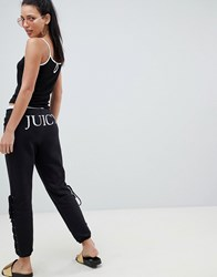 Juicy Couture Joggers With Logo And Lace Up Detail Pitch Black