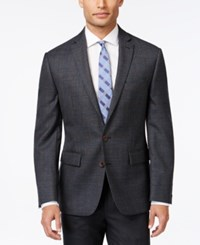 Ryan Seacrest Distinction Charcoal Plaid With Blue Deco Slim Fit Sport Coat Only At Macy's
