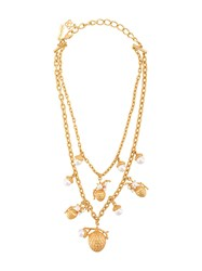 Oscar De La Renta Pinecone Pearl Necklace Gold