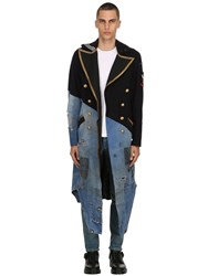 Greg Lauren 50 50 Wool And Vintage Denim Coat Blue