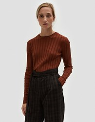 Achro Long Sleeve Ribbed Pullover In Brown