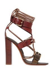 Etro 105Mm Rope And Leather Bi Color Sandals
