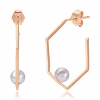 Neola Rose Gold Earrings With Pearl Minerva