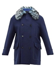 Marni Double Breasted Shearling Collar Wool Blend Coat Blue