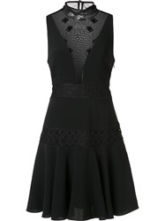 Cinq A Sept Sheer Panel Skater Dress Black