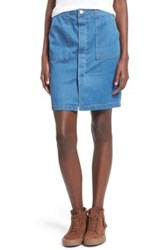 Fire Porkchop Pocket Denim Skirt Blue