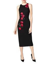 Betsey Johnson Embroidered Rose Scuba Midi Dress Black