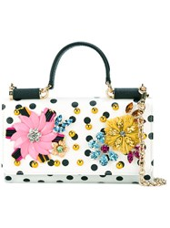 Dolce And Gabbana Embellished Wallet Bag Women Calf Leather Acetate Brass Glass One Size White