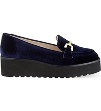 Carvela Latch Suede Platform Loafers Navy