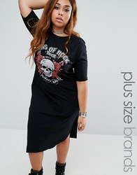 Pink Clove Skulls Tour T Shirt Dress Black