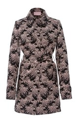 Giamba Floral Print Trench Coat Purple