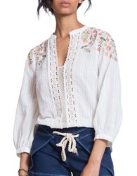 Plenty By Tracy Reese Embroidered Kurta Three Quarter Sleeve Blouse Ivory