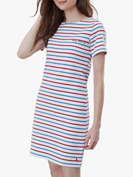 Joules Riviera Short Sleeve Jersey Dress Red Blue