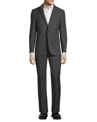 Neiman Marcus Modern Fit Super 120S Wool Two Button Nailhead Two Piece Suit Charcoal